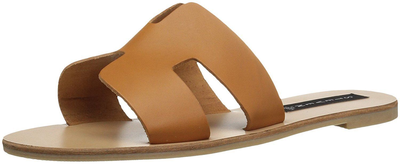 Steven by Steve Madden Greece Flat Sandals Slides Cognac Leather Size 7.0
