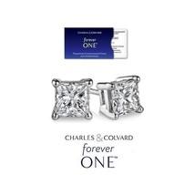1.00 Carat Moissanite Forever One Princess Square Earrings (Charles & Co... - $399.00