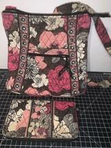 Vera Bradley Hipster Mocha Rouge Shoulder Bag & Matching Wallet Retired Pattern - $35.52