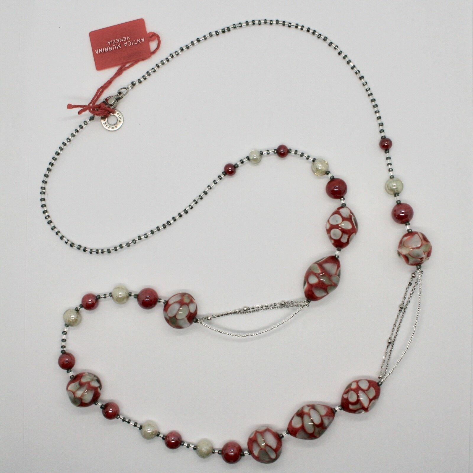 Necklace Antique Murrina Venezia with Murano Glass Red Beige Sand COA09A31