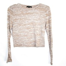 Ambiance Apparel Women's Tan Brown Striped Long Sleeve Polyester Top Size M image 1