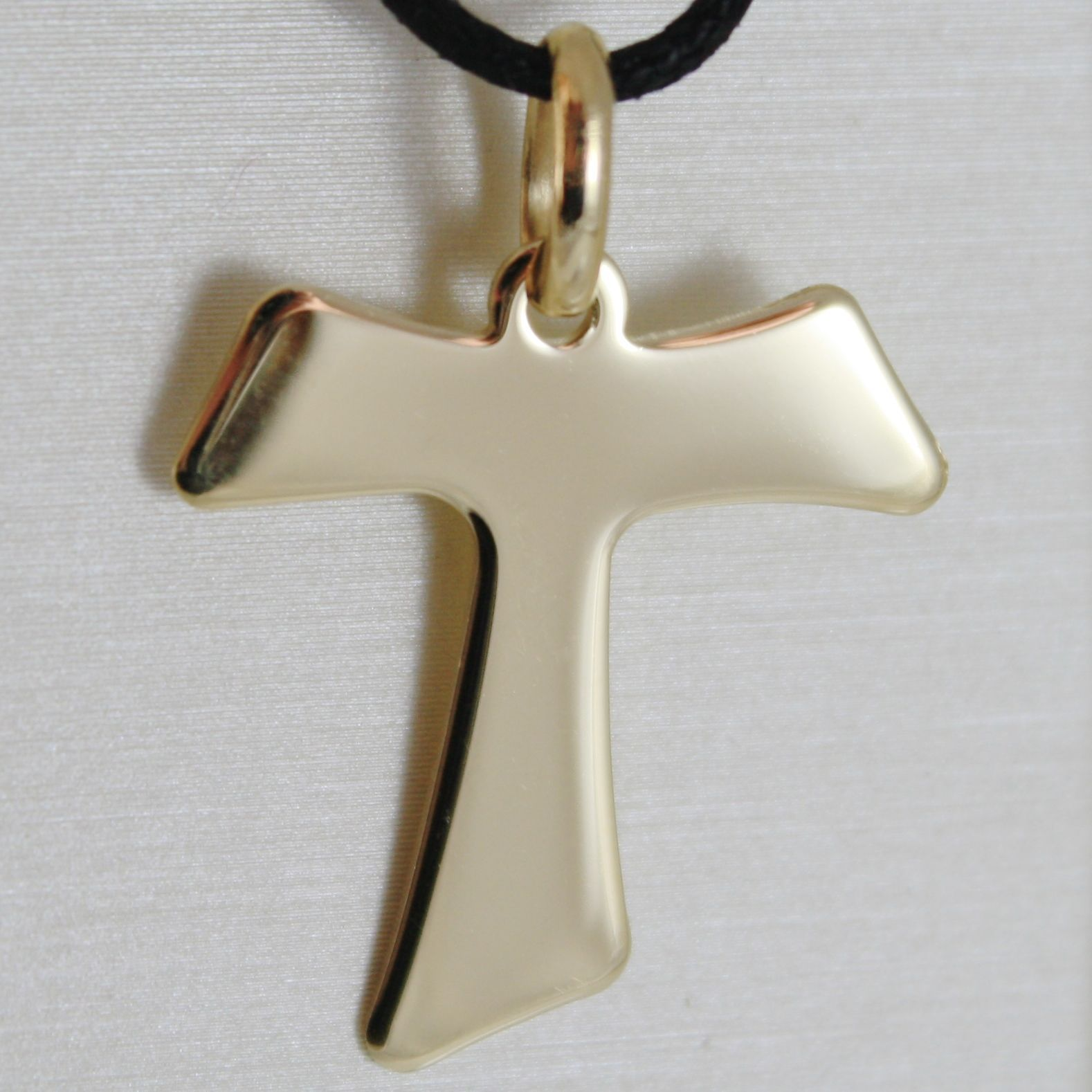 18K YELLOW GOLD CROSS FRANCISCAN TAU TAO SAINT FRANCIS 2.7 CM MADE IN ITALY