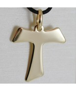 18K YELLOW GOLD CROSS FRANCISCAN TAU TAO SAINT FRANCIS 2.7 CM MADE IN ITALY - $219.45
