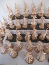 """Lot 40 Hand Carved Wood 4"""" to 5"""" Village Christmas Tress Decorations Tru... - $29.70"""