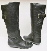 Steven by Steve Madden Leather Tall Riding Fashion Boots Buckle Wedge Bl... - $49.95