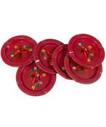 Vintage Set of 6 Metal Red Floral Coasters/Ashtrays - Painted Flowers - ... - $9.50