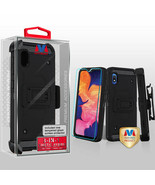 Samsung GALAXY A10E Case Tuff Hybrid Rugged Black Screen Protector Holst... - $11.73