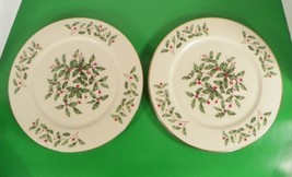 Lenox PRESIDENTIAL SPECIAL Service Plate Charger (s) LOT OF 2 Holiday Holly - $96.97