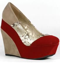Red Beige Velvet Snake Skin Embossed Colorblock High Heel Platform Wedge Qupid - $9.99