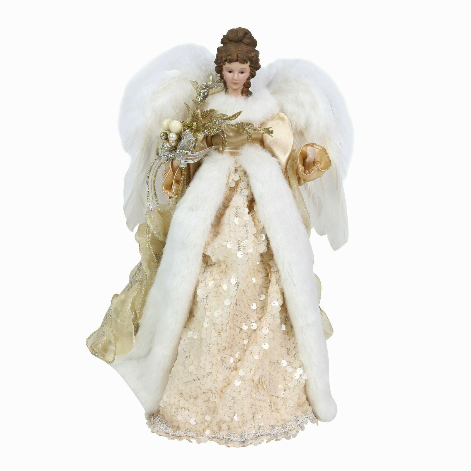 "Christmas Angel Tree Topper 16"" Elegant w Gold & Sequin Accents & Feathery Wings"