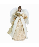 """Christmas Angel Tree Topper 16"""" Elegant w Gold & Sequin Accents & Feathe... - $49.99"""