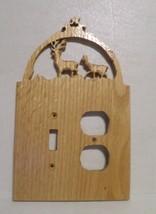 Hand Carved Switch & Outlet Combo Cover Buck & Doe Deer Wooden Rustic De... - $17.82