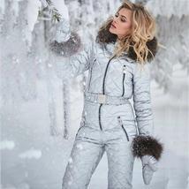 Womens Ski Suit Windproof Jumpsuit Hooded Playsuit Winter One Piece Snowsuit Glo