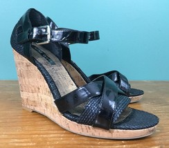 Nine West Women's High Wedge Sandals - Size 7 - Black & Cork, Ankle Straps - $14.97