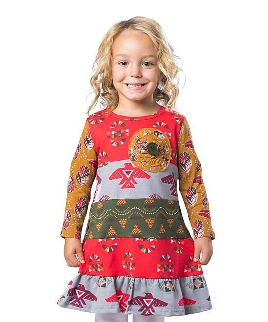 Primary image for NWT Jelly the Pug Girl Long Sleeve Cameron Tribal Persimmon Dress 5 6 7