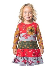 NWT Jelly the Pug Girl Long Sleeve Cameron Tribal Persimmon Dress 5 6 7 - $11.04