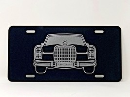 Mercedes Old School logo Car Tag Diamond Etched on Black Aluminum License Plate - $22.99