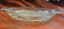 """Vintage Clear Depression Glass Oval Divided Serving DISH Handled Candy 10.5"""" L image 4"""