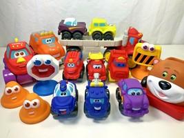 16 Hasbro Tonka Trucks Chuck & Friends Soft Rubber Car Carrier Toddler Toys Lot - $19.79