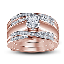 Solid 14k Rose Gold FN Wedding Wrap Ring White Diamond Ring Set & Free Shipping - $177.95