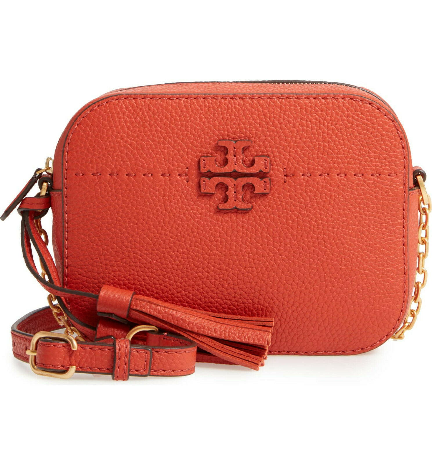 Primary image for NWT Tory Burch McGraw Leather Camera Bag Crossbody Bag Lava Red $300+ AUTHENTIC
