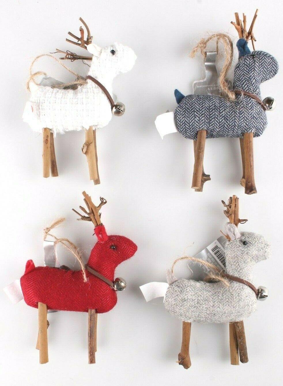 Wondershop 4 count Birchwood Bay Fabric Reindeer Ornament Set NEW w Tags
