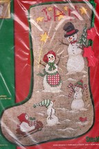 Janlynn Snofolks Snowman Winter Sled Christmas Cross Stitch Stocking Kit 03-152 - $49.95