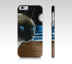 Cell Phone Case for Iphone Galaxy Cat 396 Siamese moon from art painting... - $28.99