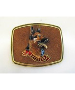 Estate Vintage German Shepherd Brass & Leather Raised Enamel Belt Buckle... - $23.13