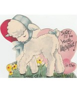 Vintage Valentine Card Sweet Lamb in Blue Bow Shake of a Lamb's Tail - $6.92