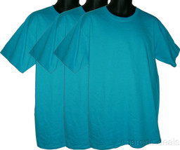 Turquoise Lot of 3 Mens T Shirts Anvil PreShrunk 100% Cotton - $15.49