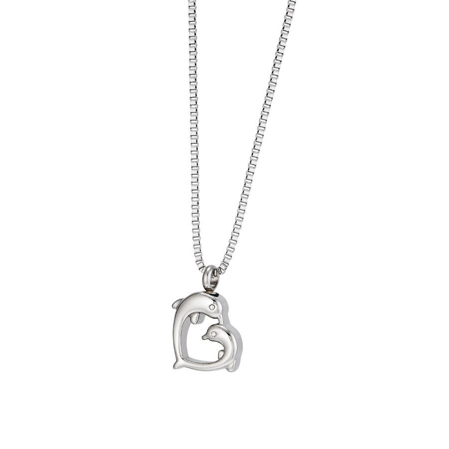 Dolphin Heart Pendant/Necklace Funeral Cremation Urn for Ashes