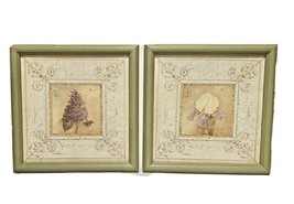 Home Interiors 2 Floral Picture Set Lilac & Iris Green Wood Framed Kathr... - $44.44