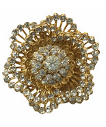 Vintage Signed CoroCraft Rhinestone Floral articulated center Flower Bro... - $54.27