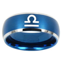 Libra Horoscope 8mm Brushed Blue Dome Tungsten Carbide Ring - $39.99