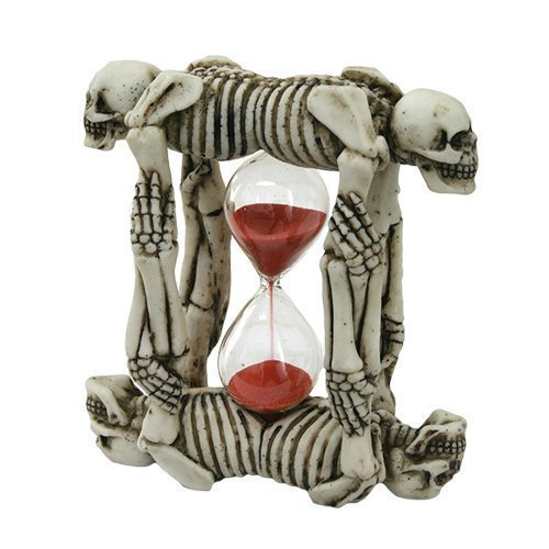 PTC Pacific Giftware Tandem Skeleton Sand Timer Hourglass Statue Figurine, 5.75""