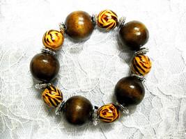 New Chunky Big Bold Safari Zebra & Dark Brown Color Wood Beads Stretch Bracelet - $5.99