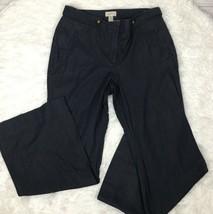 Ann Taylor LOFT Women's Wide Leg Curvy Pants  ~ 12 ~ Blue w/ Brass Butto... - $16.69