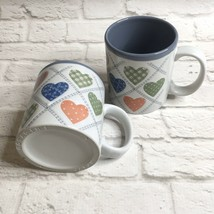 Otagiri Coffee Mugs Calico Hearts Country Pair Ceramic Japan Vintage Patchwork - $15.84