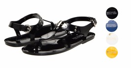 Michael Kors MK Premium Plate Jelly Thong Rubber T-Strap Shoes Sandals