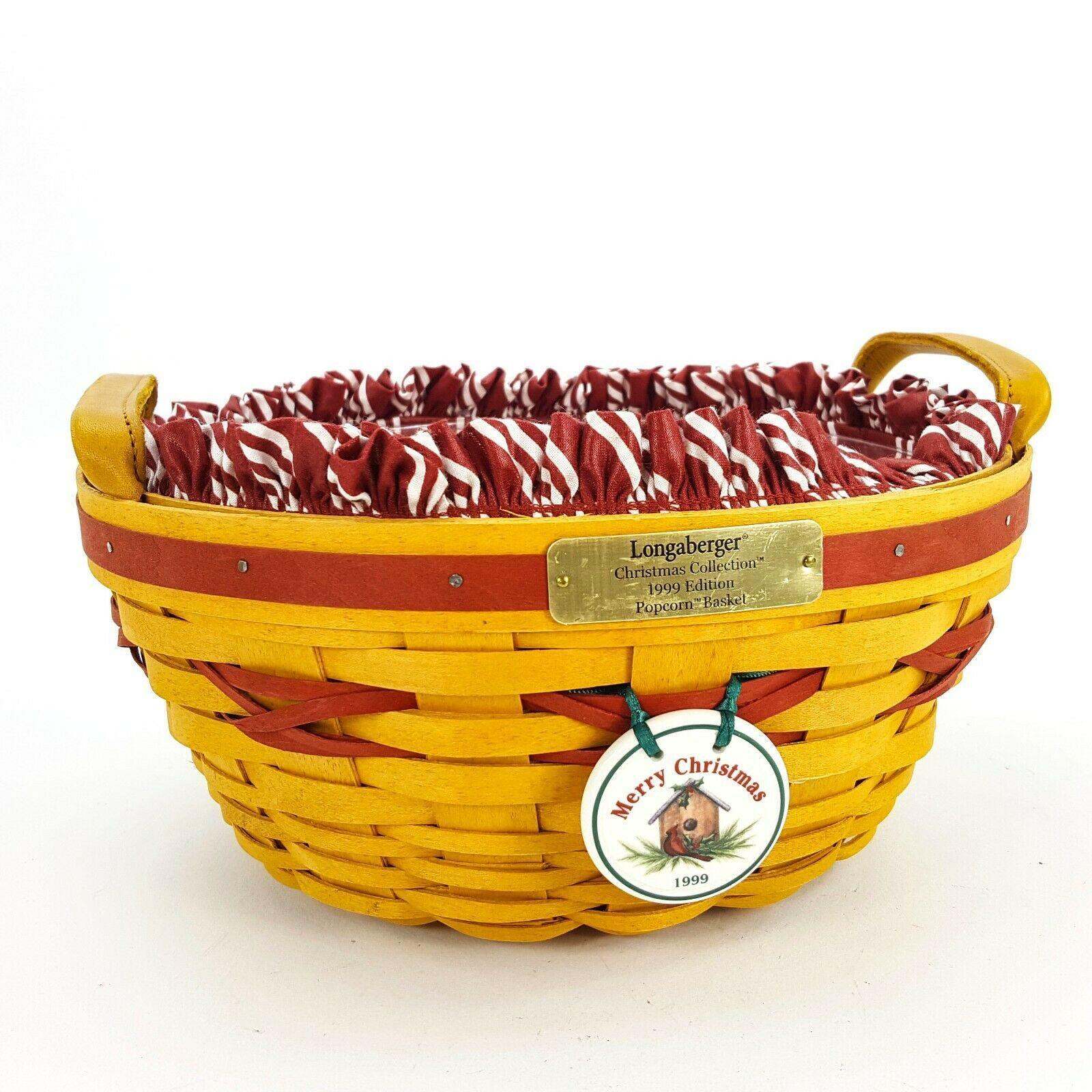Longaberger 1999 Christmas Popcorn Basket w Protector & Red White Liner 15156