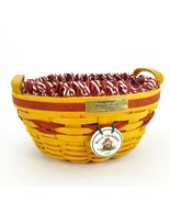 Longaberger 1999 Christmas Popcorn Basket w Protector & Red White Liner ... - $38.69