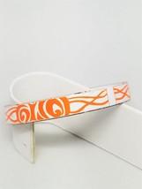 Orange and White Hand Made Porcelain Bangle Vintage Abstract Bracelet - $15.29