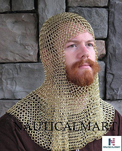 Primary image for Medieval  Brass  Face  Mild Steel  Chainmail Coif  Armour