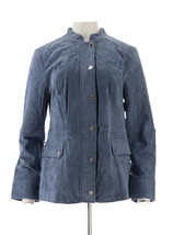 Isaac Mizrahi Suede Field Jacket Flap Pockets Storm Blue 8 NEW A309989 - $98.98