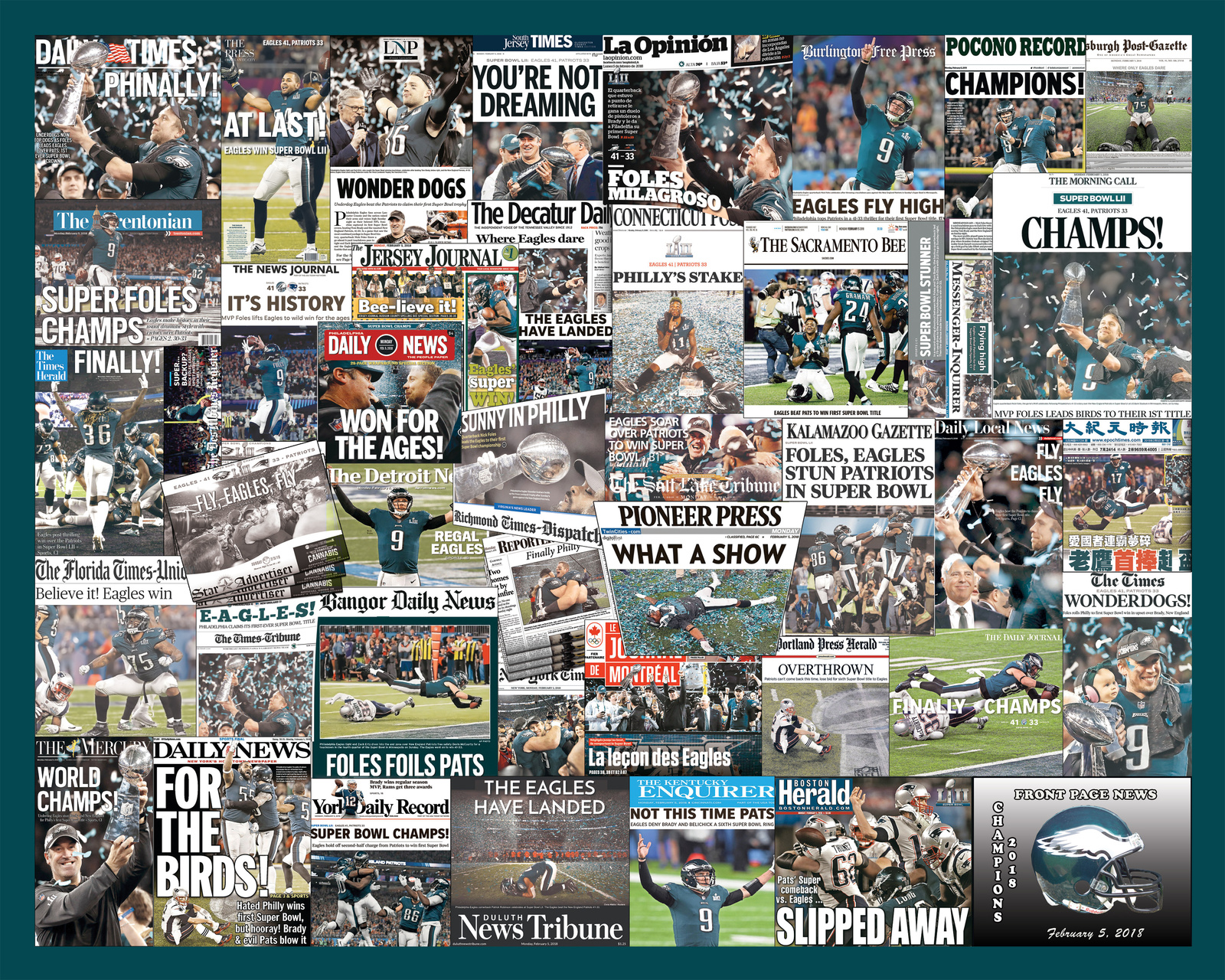 Philadelphia Eagles 2018 Super Bowl Newspaper Headline Collage Print.