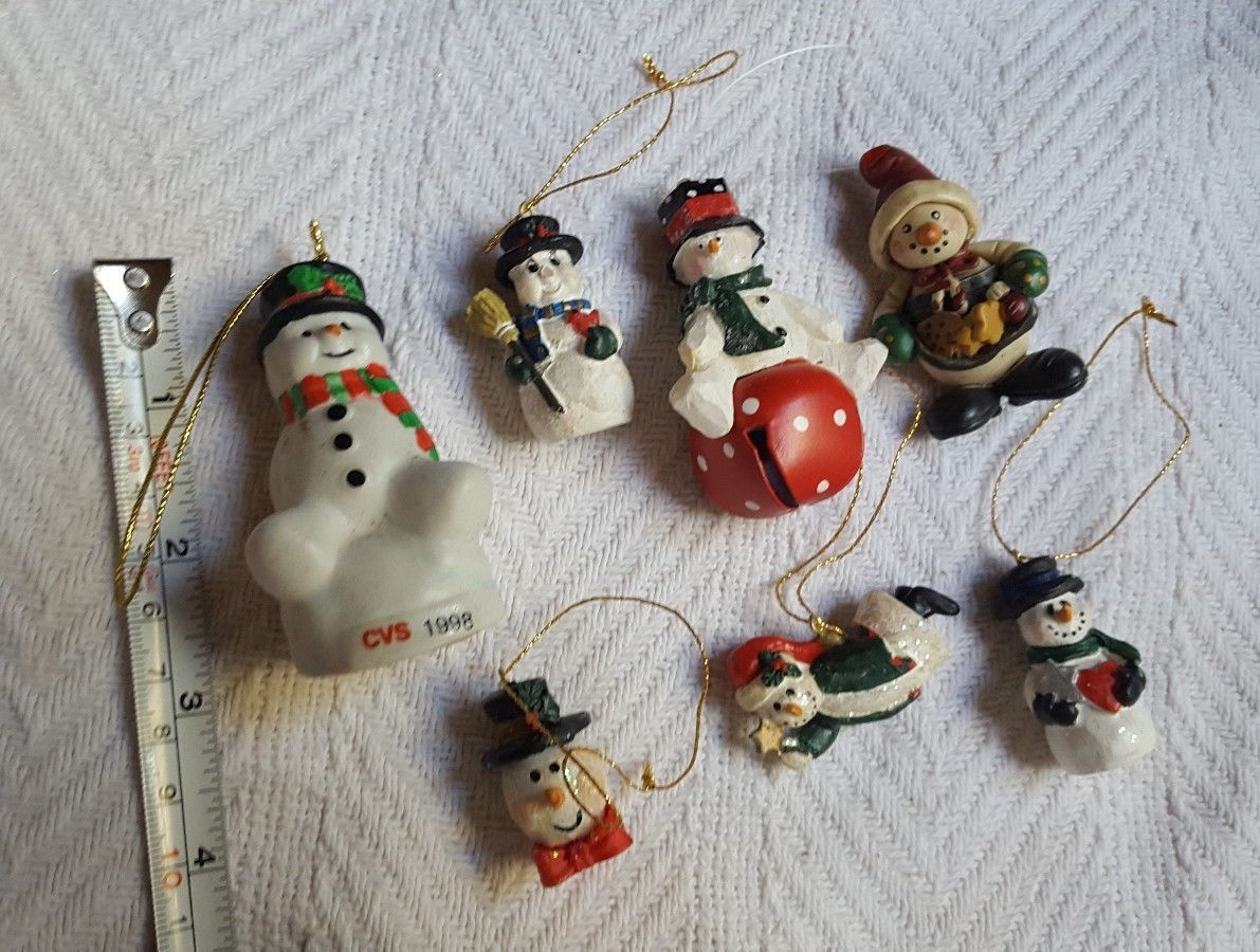 Lot of 7 Snowman Jingle Bell • Pin • tree Ornaments • some have minor defects - $14.03