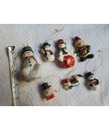 Lot of 7 Snowman Jingle Bell • Pin • tree Ornaments • some have minor de... - $14.03