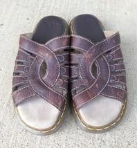 Dr Martens Slides Leather Slip On Sandals Brown Shoes US Size 8 Womens - $25.23