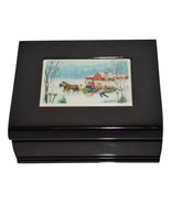 Sleigh Ride Holiday or Winter Theme Wooden Trinket Box Dark Cherry Color - $9.99